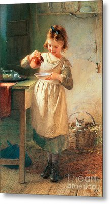 Kitty's Breakfast Metal Print by Farmer Emily