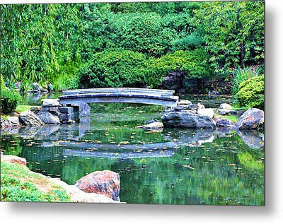 Koi Pond Pondering - Japanese Garden Metal Print by Bill Cannon
