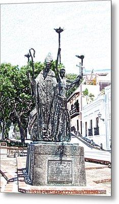 La Rogativa Sculpture Old San Juan Puerto Rico Colored Pencil Metal Print by Shawn O'Brien