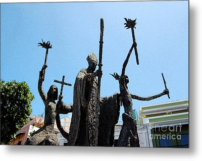 La Rogativa Statue Old San Juan Puerto Rico Ink Outlines Metal Print by Shawn O'Brien