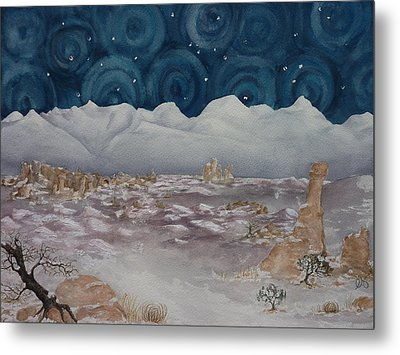 La Sal Mountains In The Snow Metal Print by Estephy Sabin Figueroa