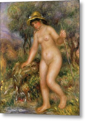 La Source Or Gabrielle Nue Metal Print by Pierre Auguste Renoir