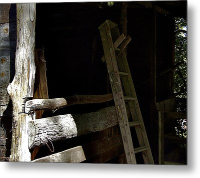 Ladder In The Shadow Metal Print by Richard Gregurich