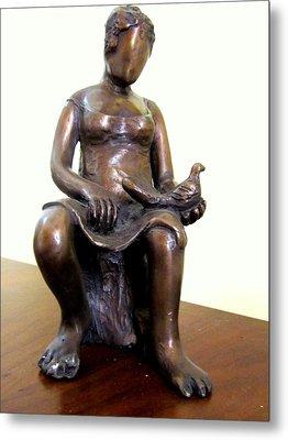 Lady Bird Bronze Sculpture Of A Woman Sitting Holding A Bird With A Dress Face Blurred Strong Legs Metal Print by Rachel Hershkovitz