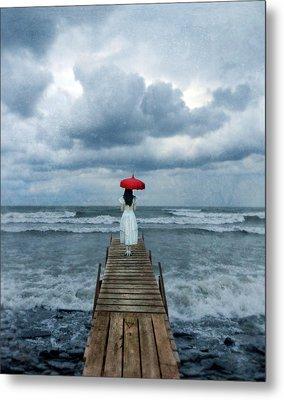 Lady On Dock In Storm Metal Print by Jill Battaglia