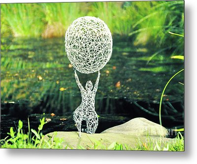 Lady With Ball Metal Print by Tommy  Urbans