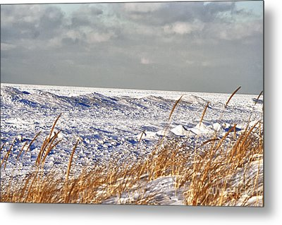 Lake Michigan On Ice Metal Print by Christopher Purcell
