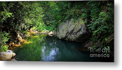 Lake With Rocks In The Mountain Metal Print by Radoslav Nedelchev