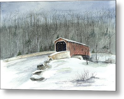 Lancaster County Covered Bridge In The Snow  Metal Print by Nancy Patterson