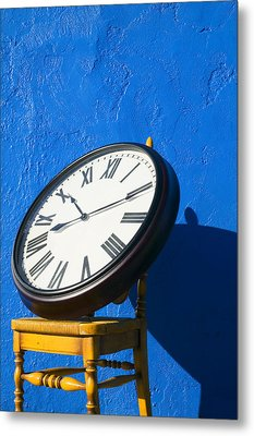 Large Clock On Yellow Chair Metal Print by Garry Gay