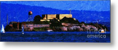 Last Light Over Alcatraz . Panorama Cut Metal Print by Wingsdomain Art and Photography