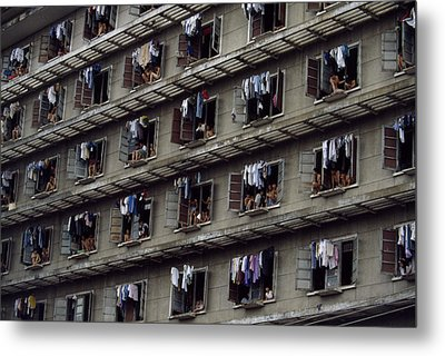 Laundry Drying Outside Apartments Metal Print by Paul Chesley
