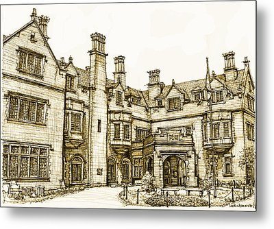 Laurel Hall In Sepia Metal Print by Building  Art