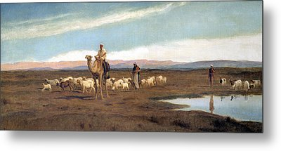 Leading The Flock To Pasture Metal Print by Frederick Goodall