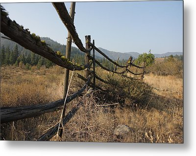 Leaning Fence  Metal Print by Jeannine Welfelt