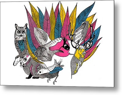 Leaves And Animals Metal Print by JF Mondello