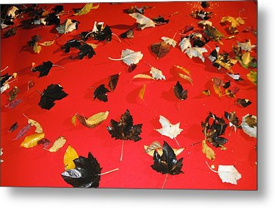 Leaves On Buick Metal Print by Todd Sherlock