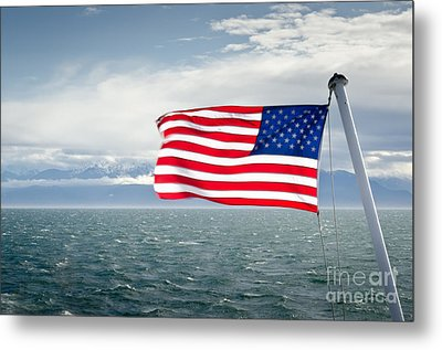 Leaving The Olympics Stars And Stripes On The Straits From The Olympic Mountains Metal Print by Andy Smy