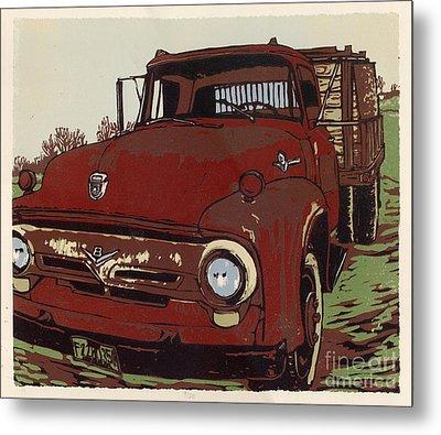 Leeser's Truck - Linocut Print Metal Print by Annie Laurie