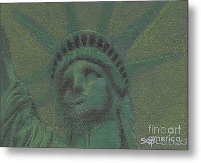 Liberty In Green Metal Print by Stephen Cheek II