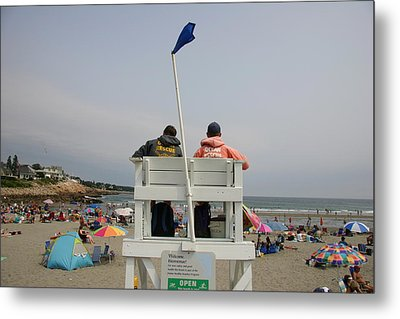 Lifeguards Watch Over The Traditional Metal Print by Stephen St. John