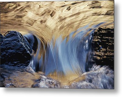 Light Reflected On Water Flowing Metal Print by Jason Edwards