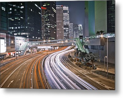 Light Trails On Road Metal Print by Andi Andreas
