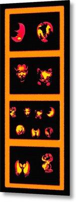 Lighted Jack-o-lanterns Tetraptych Metal Print by Steve Ohlsen