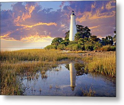 Lighthous Reflection 1 Metal Print by Marty Koch