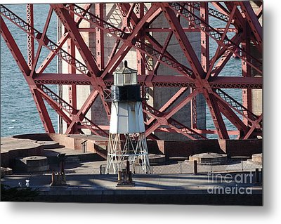 Lighthouse Atop Fort Point Next To The San Francisco Golden Gate Bridge - 5d19001 Metal Print by Wingsdomain Art and Photography