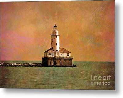 Lighthouse Off Navy Pier Metal Print by Mary Machare