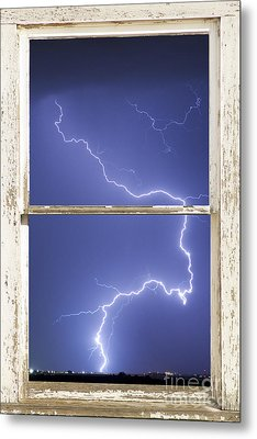 Lightning Strike White Barn Picture Window Frame Photo Art  Metal Print by James BO  Insogna