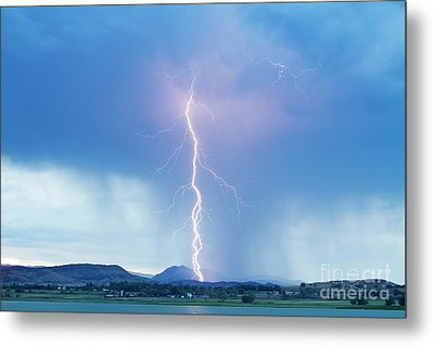 Lightning Twine Striking The Colorado Rocky Mountain Foothills Metal Print by James BO  Insogna