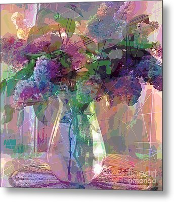Lilac Cuttings Glass Vase Metal Print by David Lloyd Glover