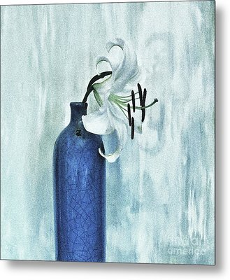 Lily In Blue Metal Print by Marsha Heiken
