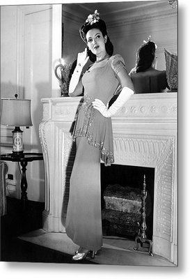 Linda Darnell In Sequined Evening Gown Metal Print by Everett