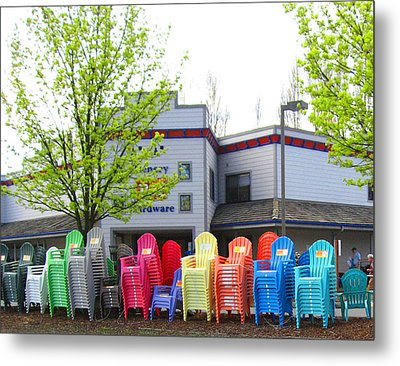 Line Of Rainbow Chairs Metal Print by Kym Backland