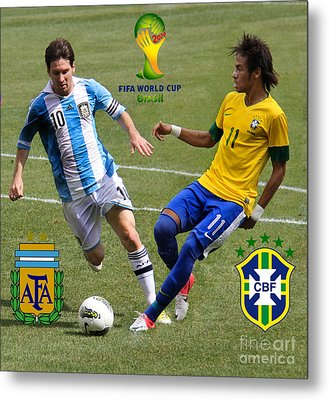 Lionel Messi And Neymar Clash Of The Titans Fifa World Cup 2014 And Team Logos Metal Print by Lee Dos Santos