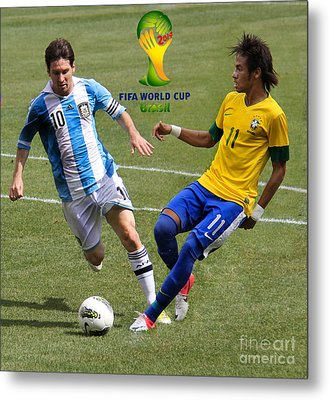 Lionel Messi And Neymar Clash Of The Titans Fifa World Cup 2014 II Metal Print by Lee Dos Santos