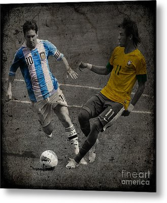 Lionel Messi And Neymar Clash Of The Titans Vii Metal Print by Lee Dos Santos
