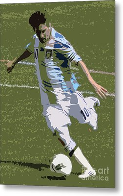 Lionel Messi Kicking II Metal Print by Lee Dos Santos