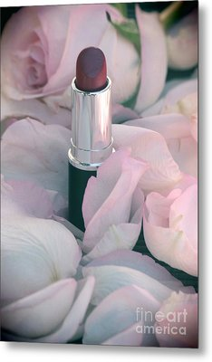 Lipstick And Roses Metal Print by Sophie Vigneault