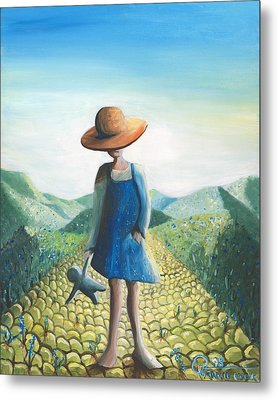 Little Girl On The Road Metal Print by Valerie Graniou-Cook