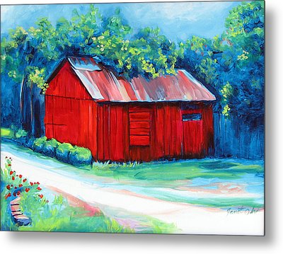 Little Red Barn Metal Print by Janet Oh
