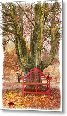 Little Red Bench Metal Print by Debra and Dave Vanderlaan