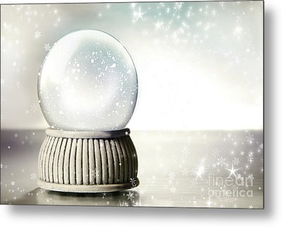 Little Red Gift Isolated On White Metal Print by Sandra Cunningham