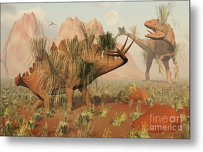 Living Fossils Of A Stegosaurus And An Metal Print by Mark Stevenson