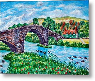 Llanrwst Bridge - Wales Metal Print by Ronald Haber