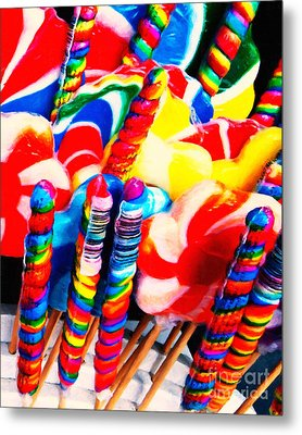 Lollipops - Painterly - Red Metal Print by Wingsdomain Art and Photography