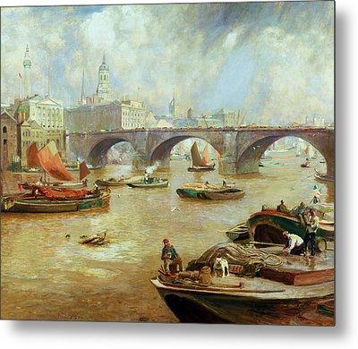London Bridge From Bankside Metal Print by Sir David Murray